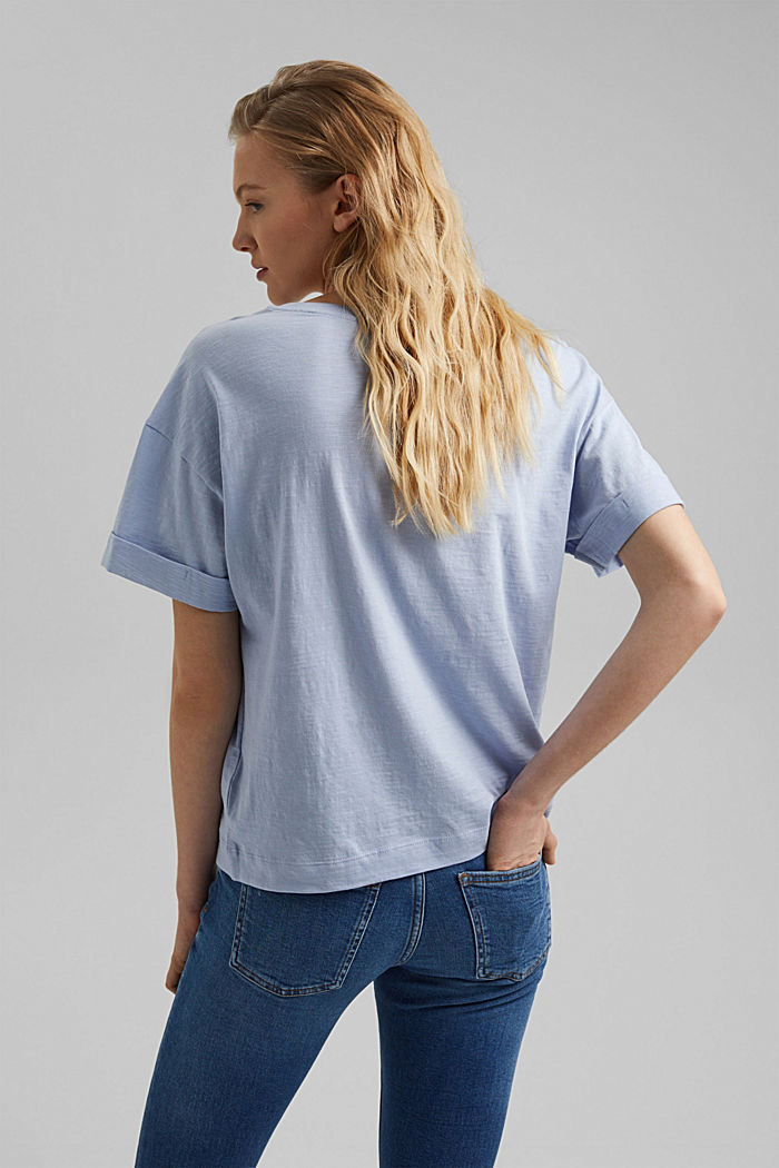 Basic T-shirt made of 100% organic cotton, LIGHT BLUE LAVENDER, detail image number 3