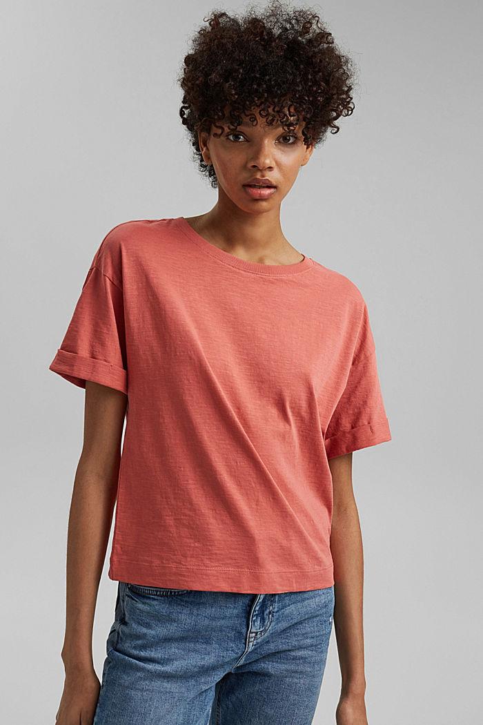 Basic T-shirt made of 100% organic cotton, CORAL, detail image number 0