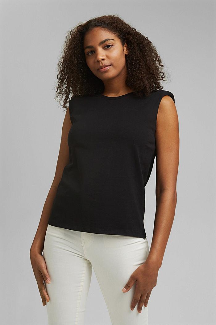 Shirt mit Schulterpolstern, 100% Bio-Baumwolle, BLACK, detail image number 0