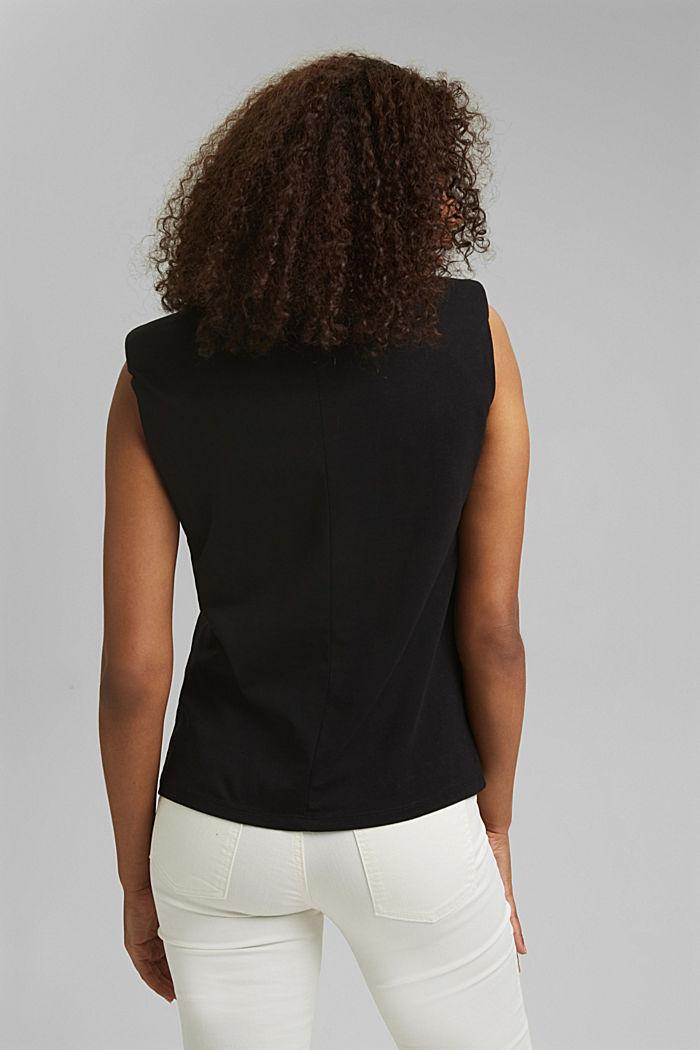Shirt mit Schulterpolstern, 100% Bio-Baumwolle, BLACK, detail image number 3