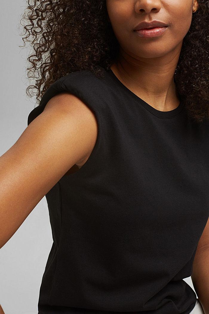 Shirt mit Schulterpolstern, 100% Bio-Baumwolle, BLACK, detail image number 2
