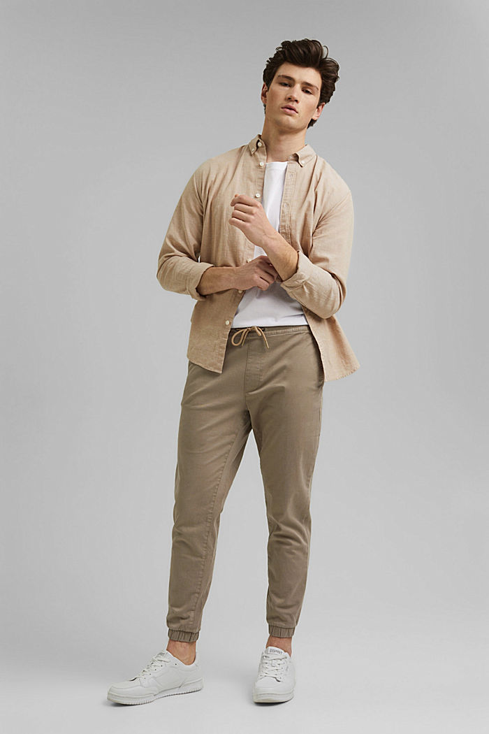 Jogg-Chino aus Organic Cotton, LIGHT BEIGE, detail image number 1