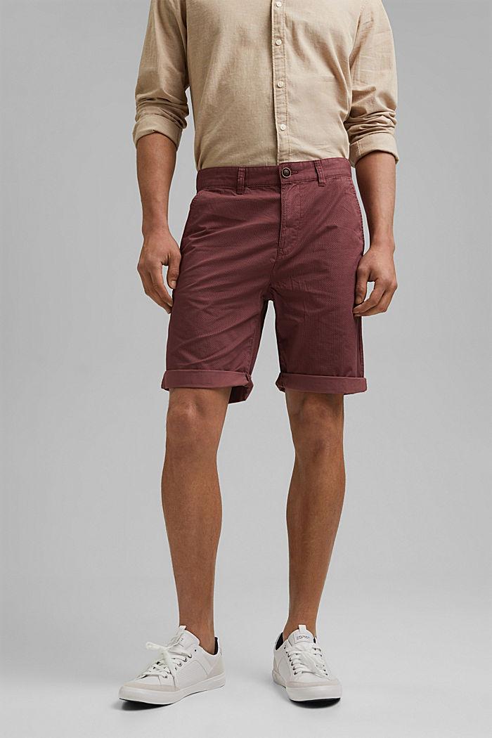 Shorts con stampa di cotone biologico, BERRY PURPLE, detail image number 0