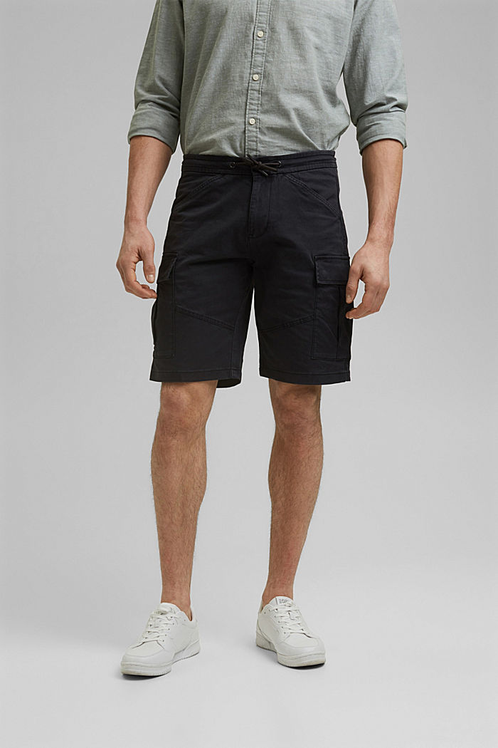 Cargo shorts with an elasticated waistband, ANTHRACITE, detail image number 0