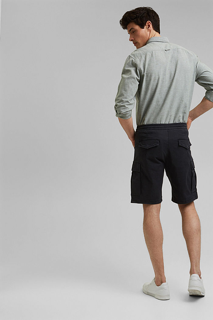 Cargo shorts with an elasticated waistband, ANTHRACITE, detail image number 3