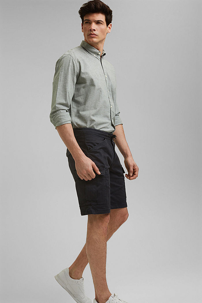 Cargo shorts with an elasticated waistband, ANTHRACITE, detail image number 1