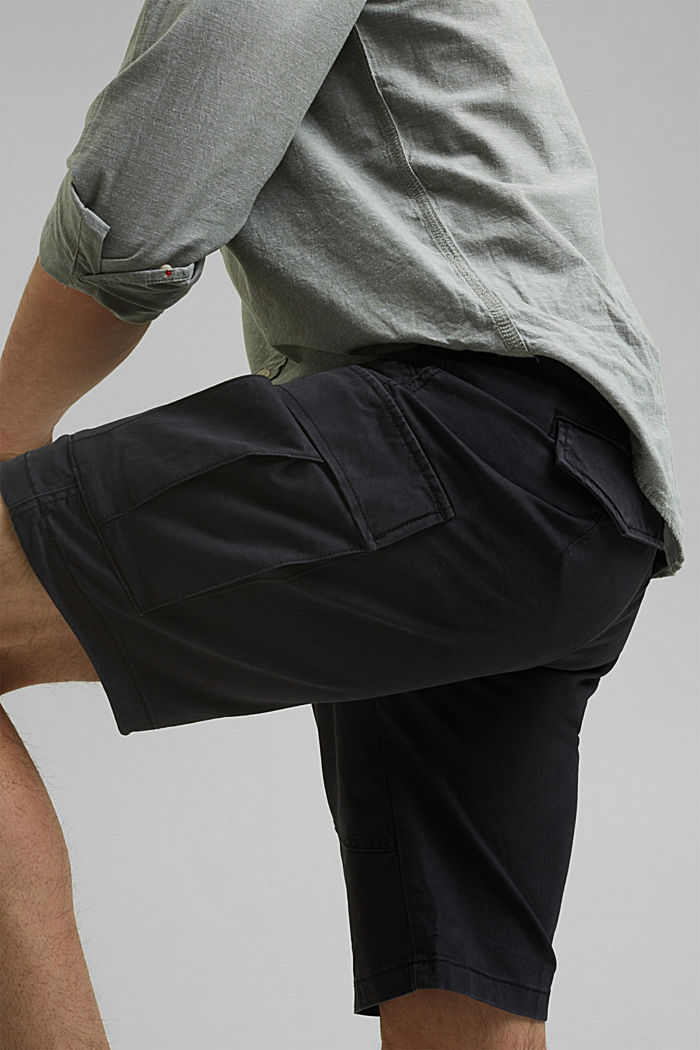 Cargo shorts with an elasticated waistband, ANTHRACITE, detail image number 2