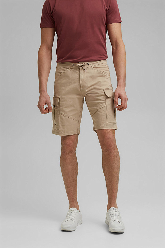 Cargo shorts with an elasticated waistband, LIGHT BEIGE, detail image number 0