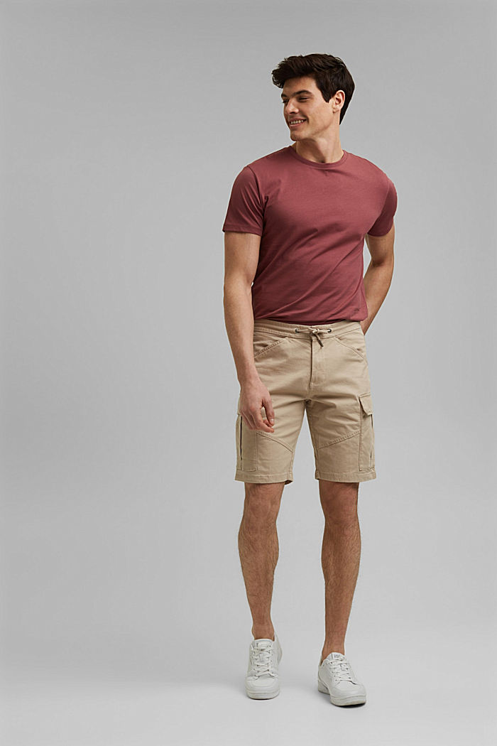 Cargo shorts with an elasticated waistband, LIGHT BEIGE, detail image number 1