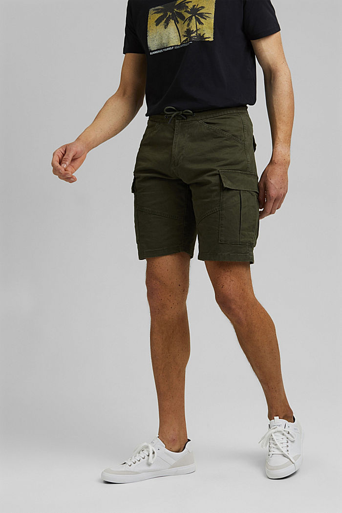 Cargo shorts with an elasticated waistband, DARK KHAKI, detail image number 0