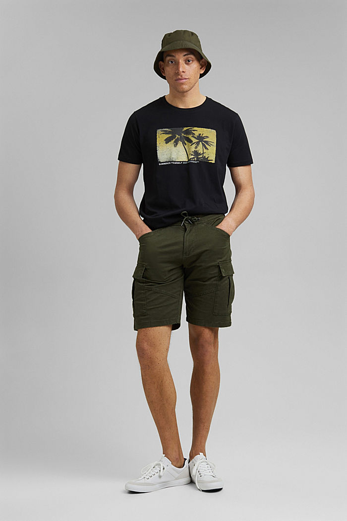 Cargo shorts with an elasticated waistband, DARK KHAKI, detail image number 1