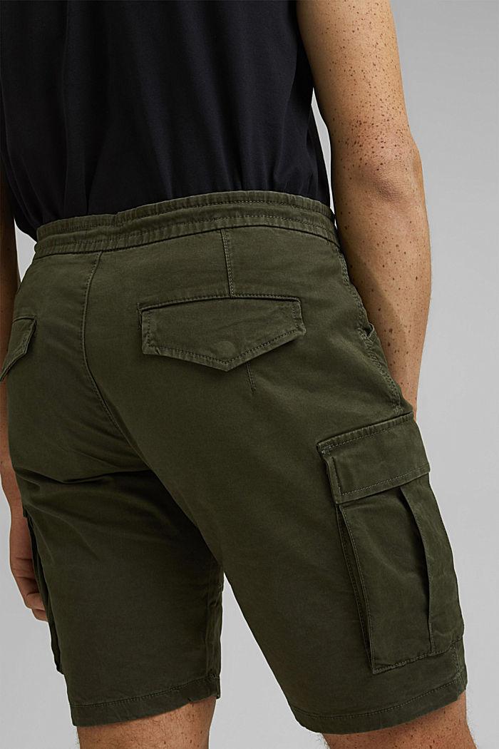 Cargo shorts with an elasticated waistband, DARK KHAKI, detail image number 5