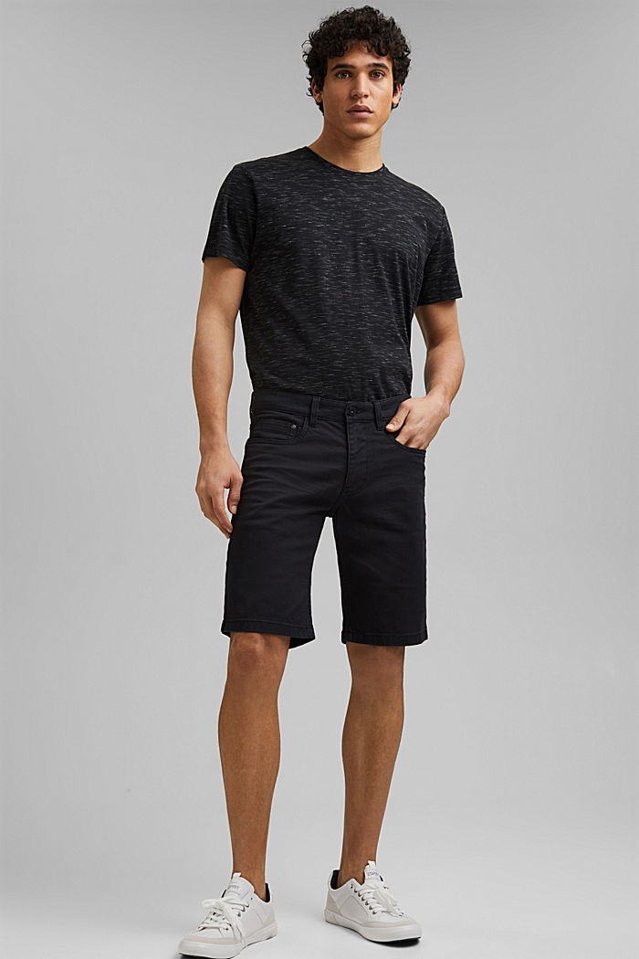 Short en twill en coton stretch, BLACK, detail image number 6