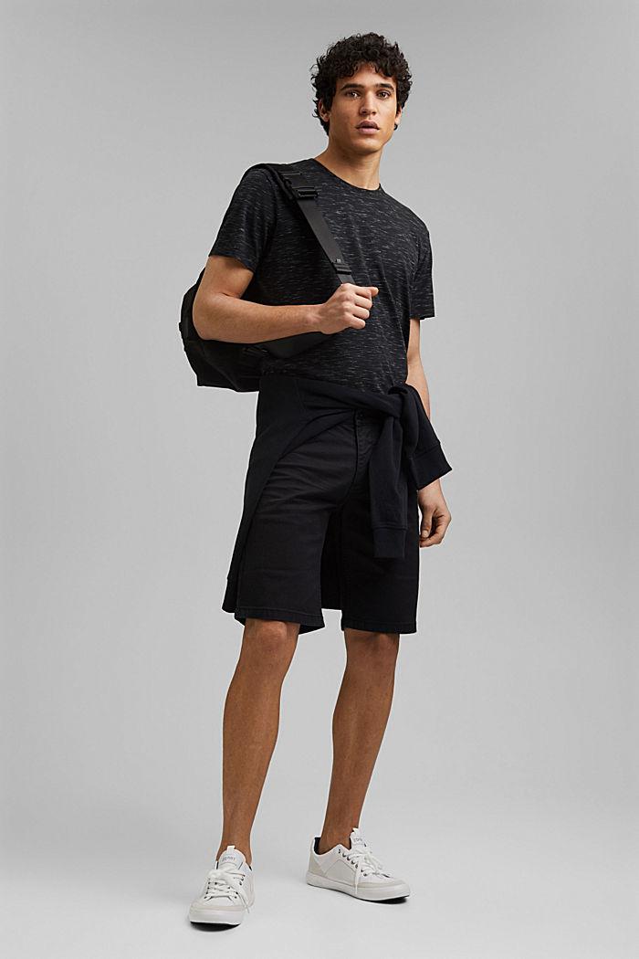 Short en twill en coton stretch, BLACK, detail image number 1