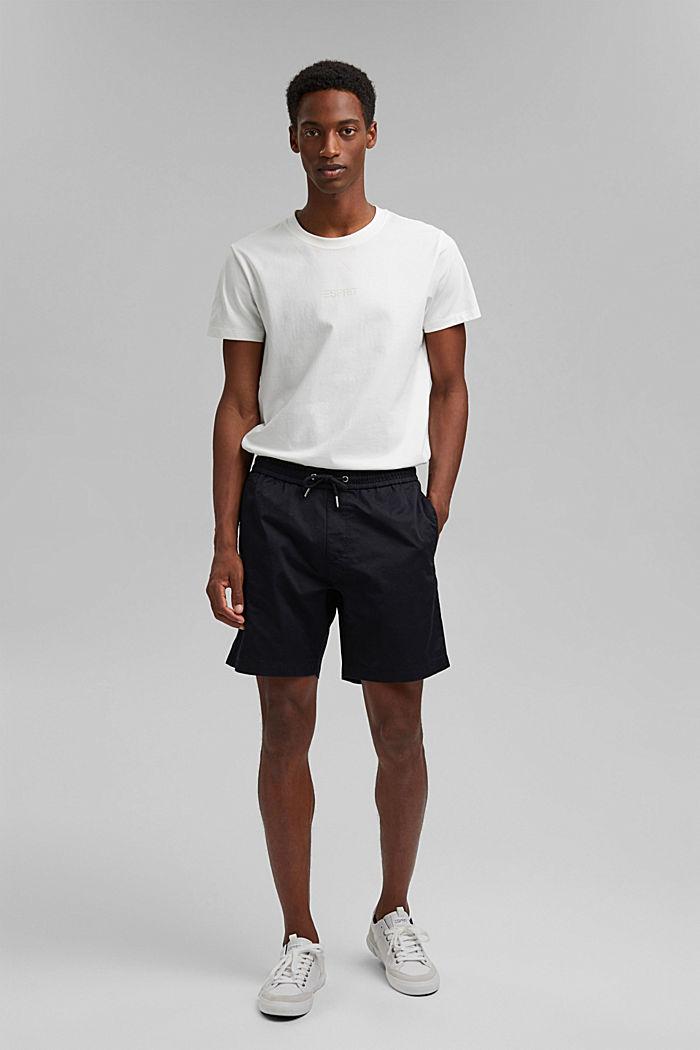 Pantalón corto con cordón elástico, 100 % algodón ecológico, BLACK, detail image number 1