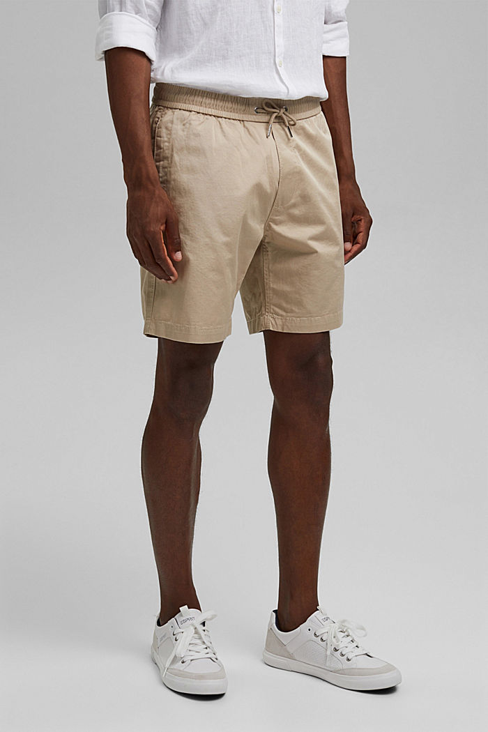 Pantalón corto con cordón elástico, 100 % algodón ecológico, LIGHT BEIGE, detail image number 0