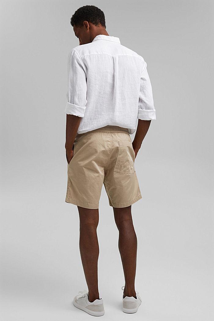 Pantalón corto con cordón elástico, 100 % algodón ecológico, LIGHT BEIGE, detail image number 3