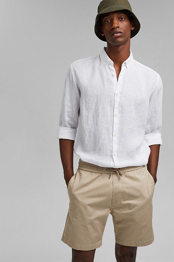 Pantalón corto con cordón elástico, 100 % algodón ecológico, LIGHT BEIGE, detail image number 6