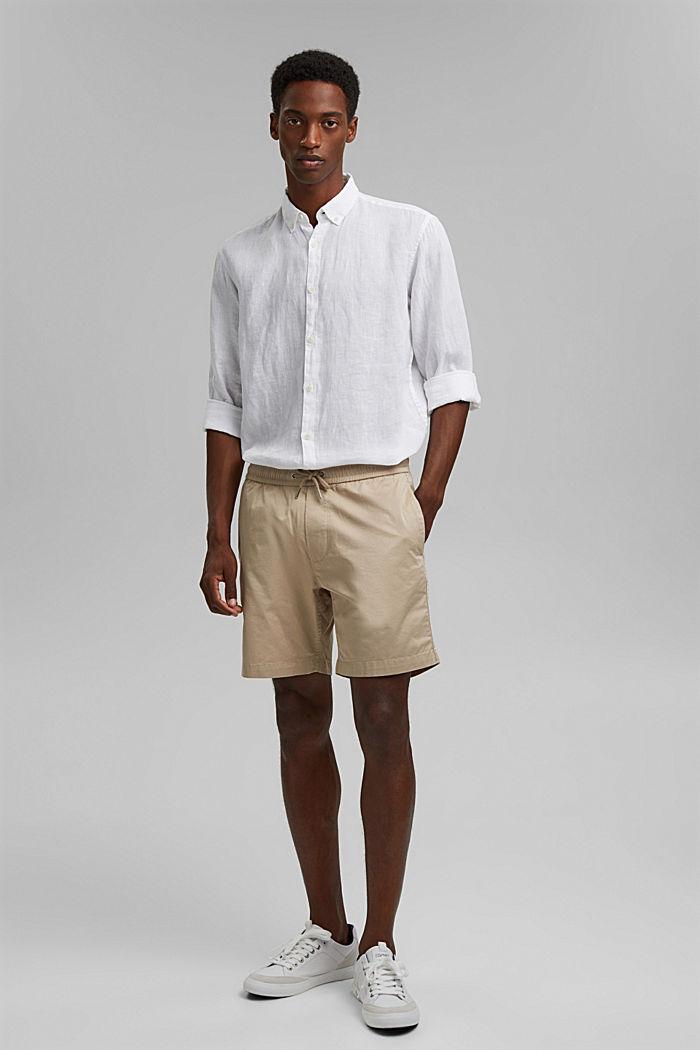 Pantalón corto con cordón elástico, 100 % algodón ecológico, LIGHT BEIGE, detail image number 1