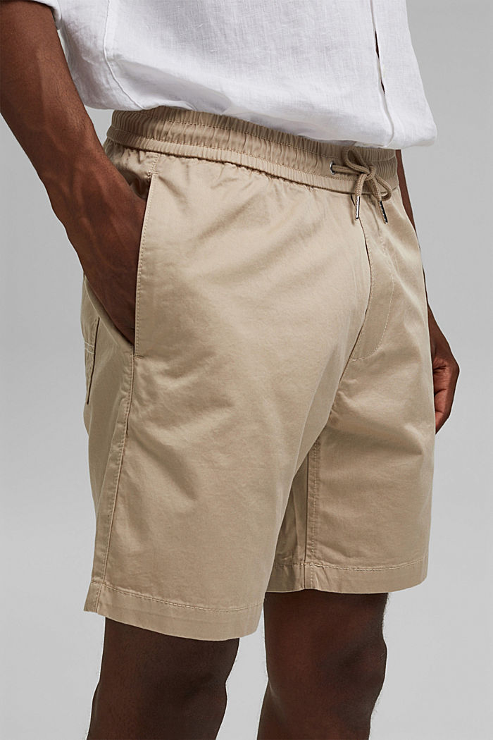 Pantalón corto con cordón elástico, 100 % algodón ecológico, LIGHT BEIGE, detail image number 2