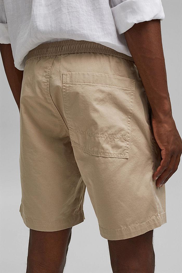 Pantalón corto con cordón elástico, 100 % algodón ecológico, LIGHT BEIGE, detail image number 5