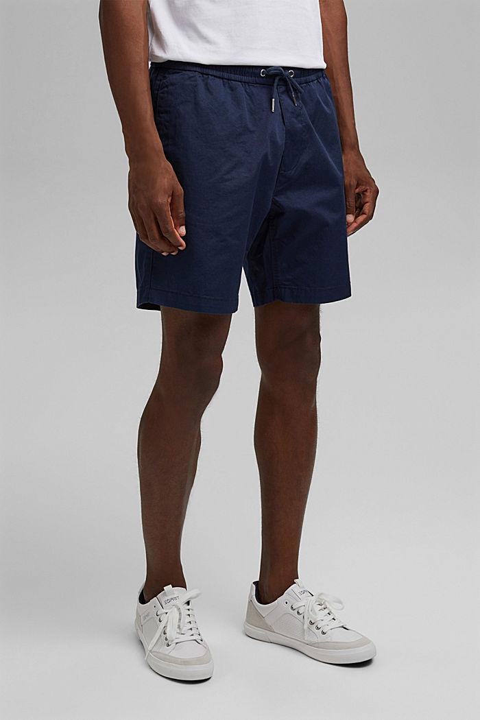 Short à cordon de serrage à la taille, 100 % coton biologique, DARK BLUE, detail image number 6