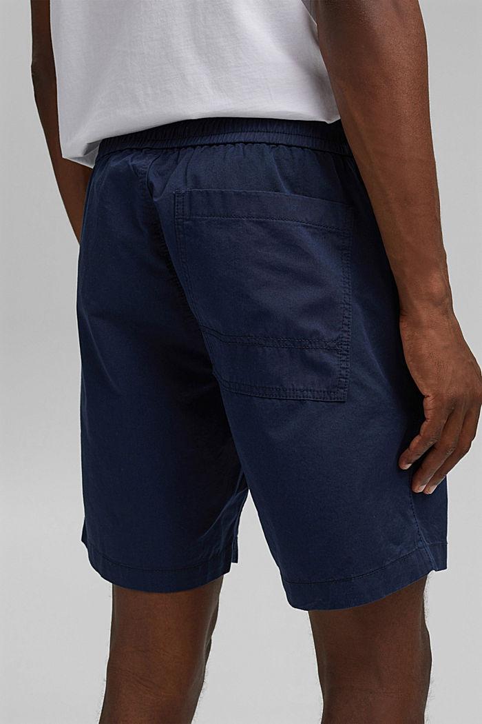 Short à cordon de serrage à la taille, 100 % coton biologique, DARK BLUE, detail image number 5
