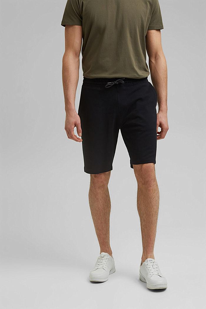 Sweatshirt shorts made of 100% cotton, BLACK, detail image number 0