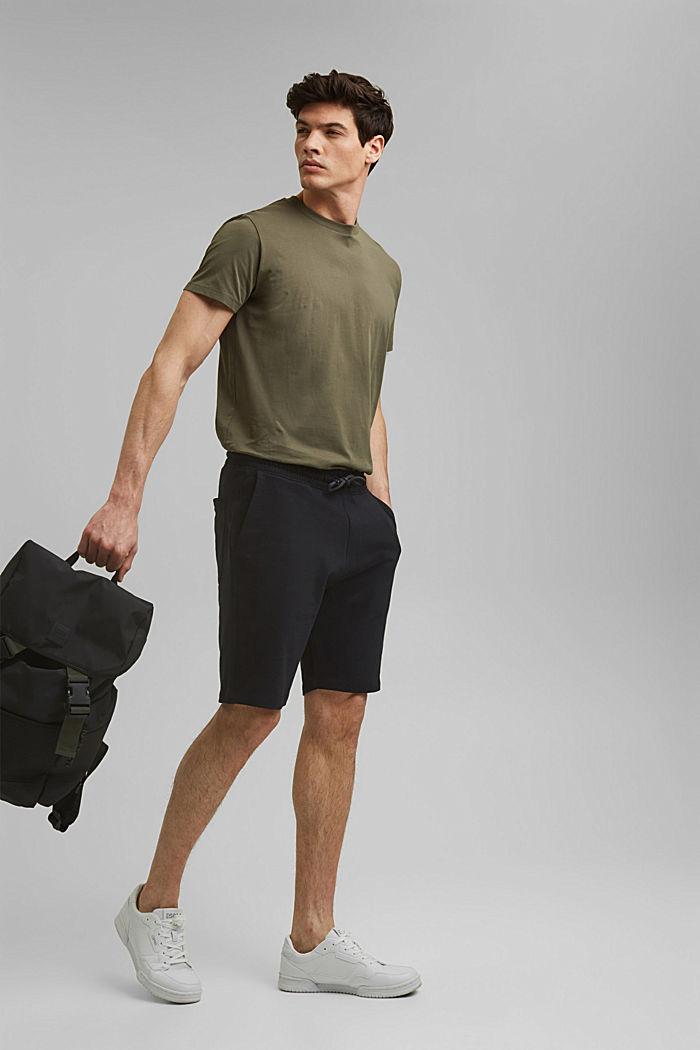 Sweatshirt shorts made of 100% cotton, BLACK, detail image number 1
