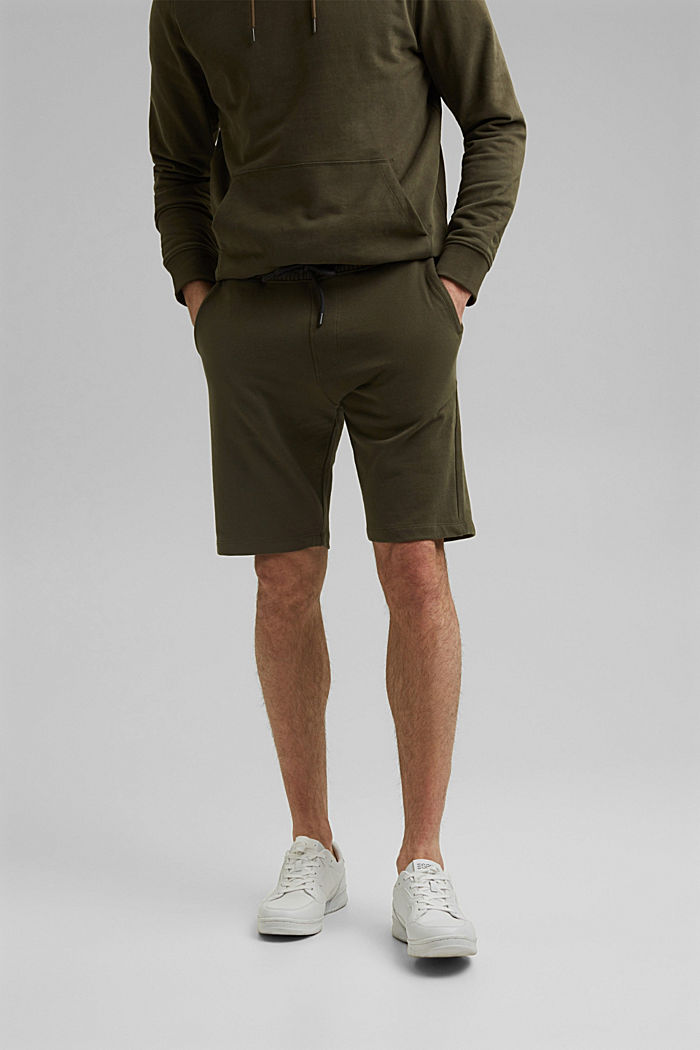 Sweat-Shorts aus 100% Organic Cotton, DARK KHAKI, overview