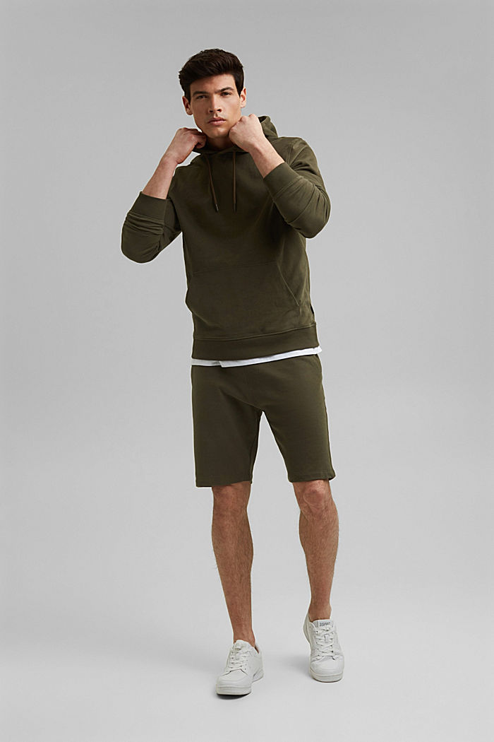Pantaloncini in felpa di 100% cotone biologico, DARK KHAKI, detail image number 1