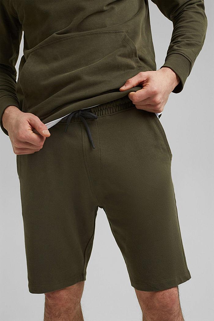 Pantaloncini in felpa di 100% cotone biologico, DARK KHAKI, detail image number 2