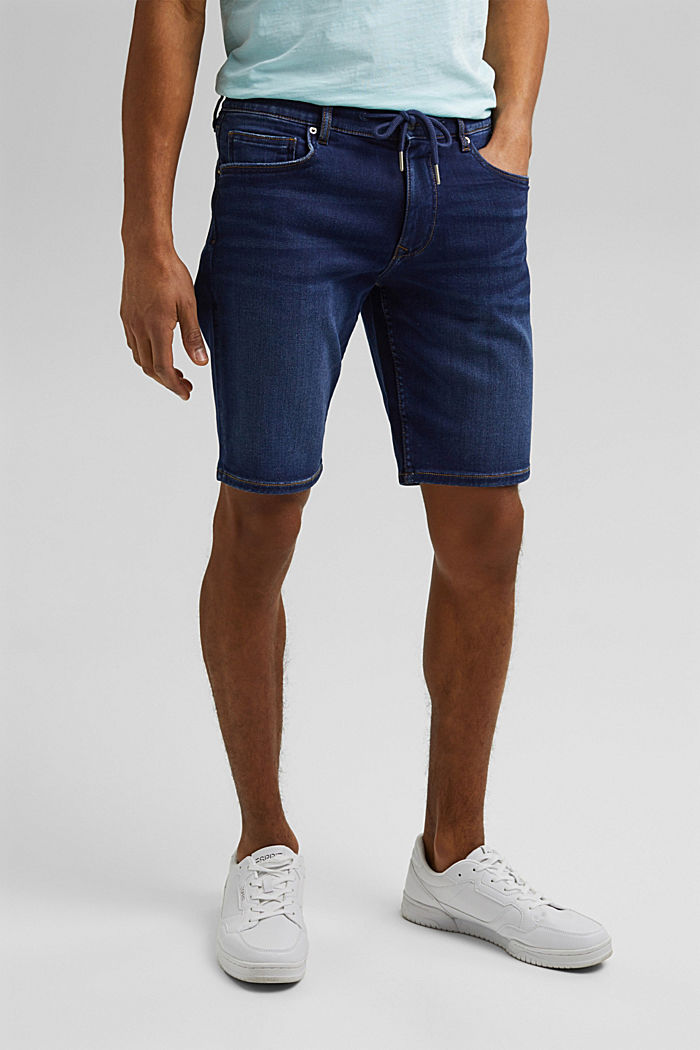 Denim-Shorts in Jogger-Qualität, BLUE DARK WASHED, detail image number 0