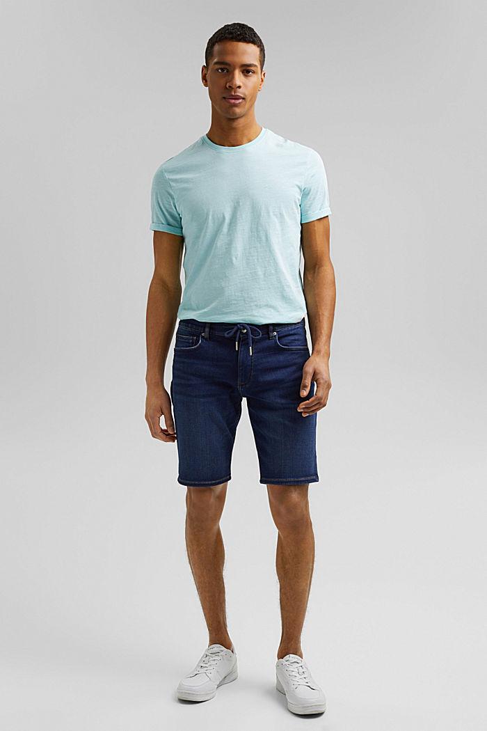 Dżinsowe szorty w stylu joggersów, BLUE DARK WASHED, detail image number 4
