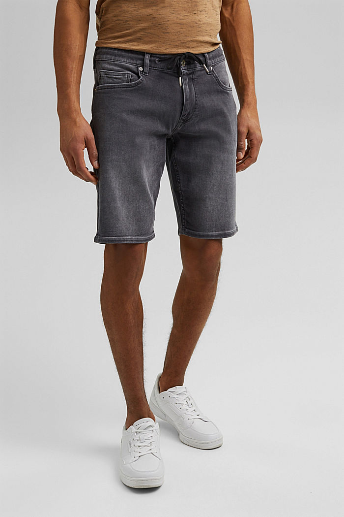 Denim shorts in tracksuit fabric, GREY MEDIUM WASHED, overview