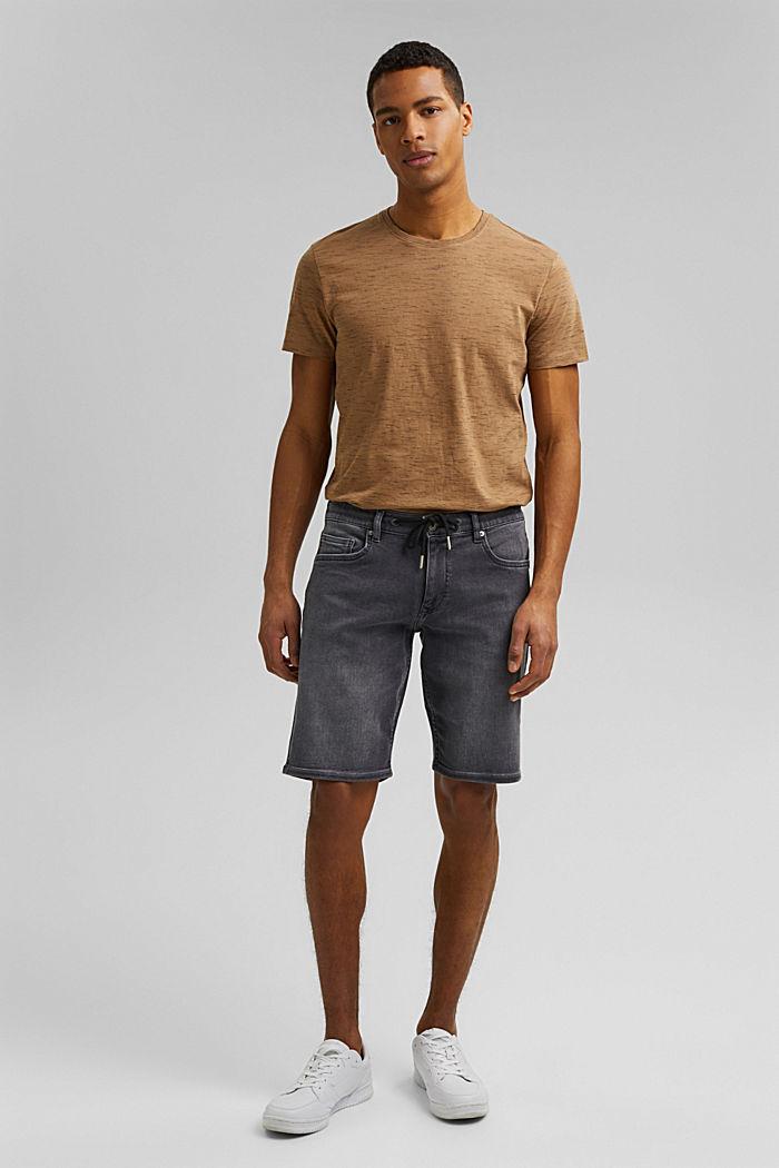 Pantalones vaqueros cortos en tejido deportivo, GREY MEDIUM WASHED, detail image number 4