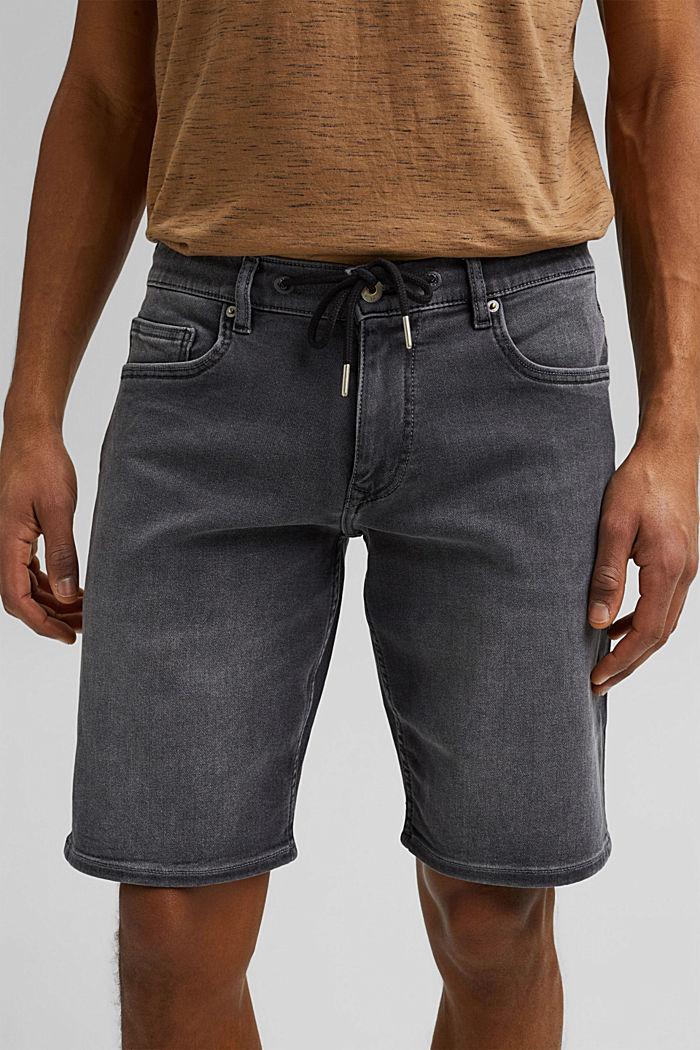 Pantalones vaqueros cortos en tejido deportivo, GREY MEDIUM WASHED, detail image number 2