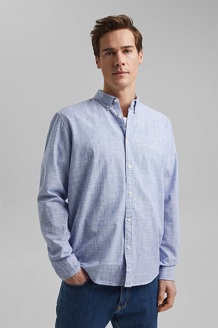 Textured shirt with a print, organic cotton, NAVY, detail image number 0