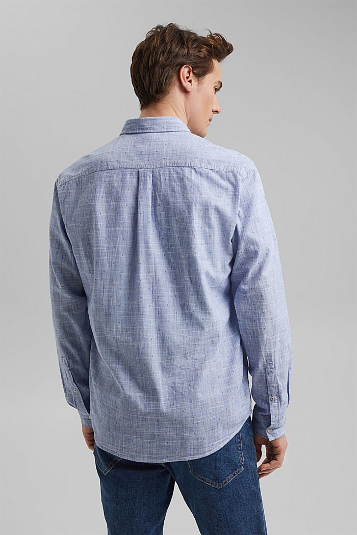 Textured shirt with a print, organic cotton, NAVY, detail image number 3