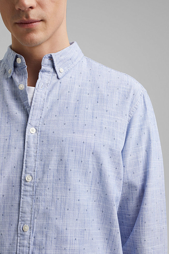 Textured shirt with a print, organic cotton, NAVY, detail image number 2