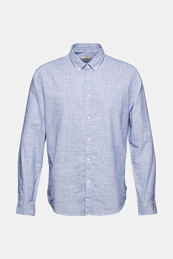 Textured shirt with a print, organic cotton, NAVY, detail image number 6