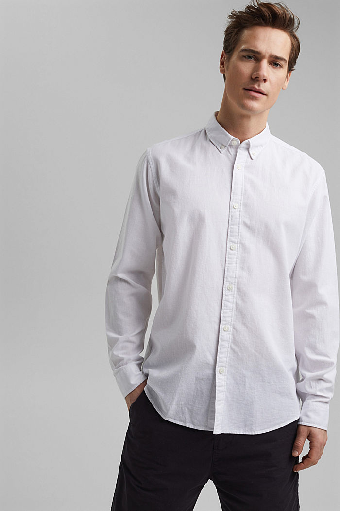 Linen/organic cotton: button-down shirt, WHITE, detail image number 0