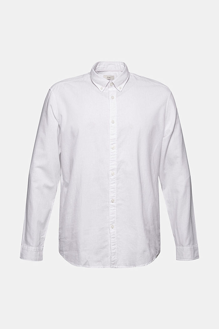 Linen/organic cotton: button-down shirt, WHITE, detail image number 6