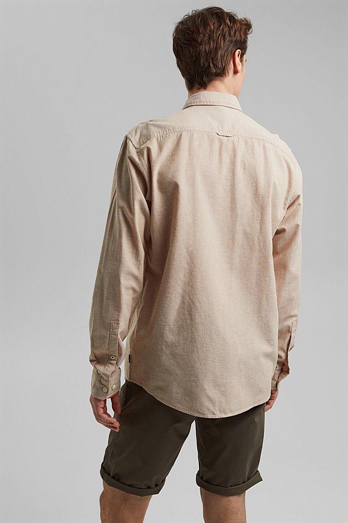 Z lnem/bawełną organiczną: koszula z przypinanym kołnierzykiem, BEIGE, detail image number 3