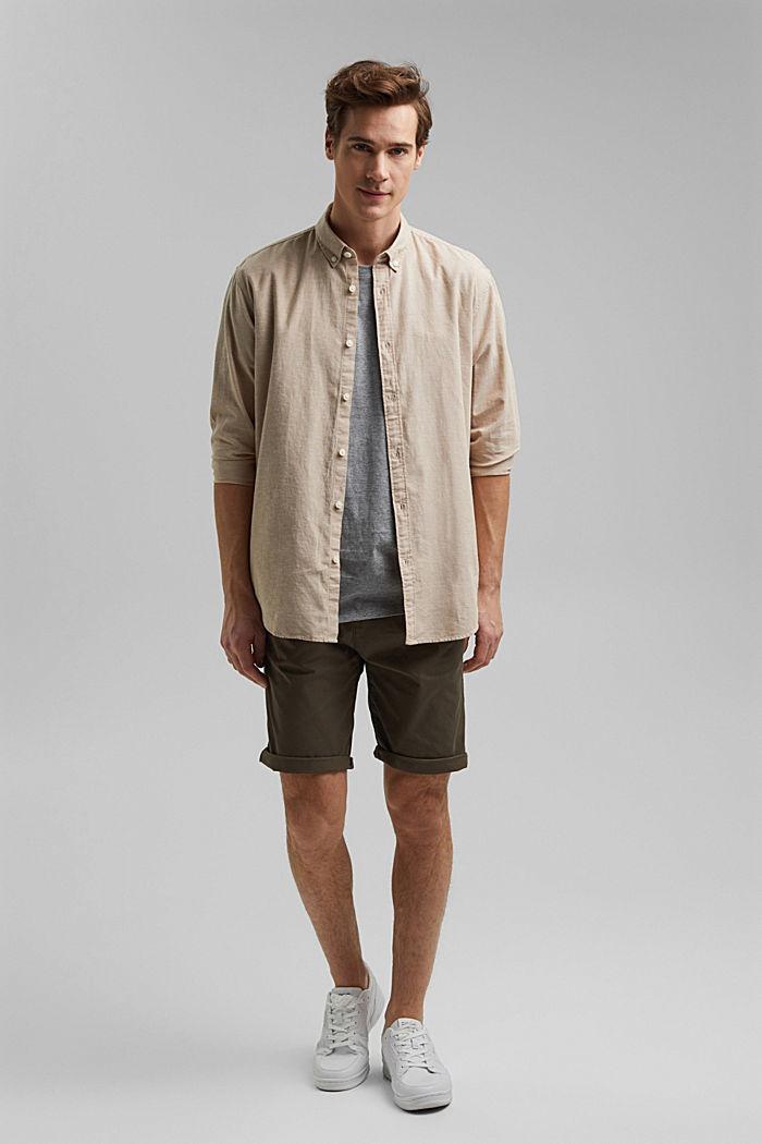 Z lnem/bawełną organiczną: koszula z przypinanym kołnierzykiem, BEIGE, detail image number 1