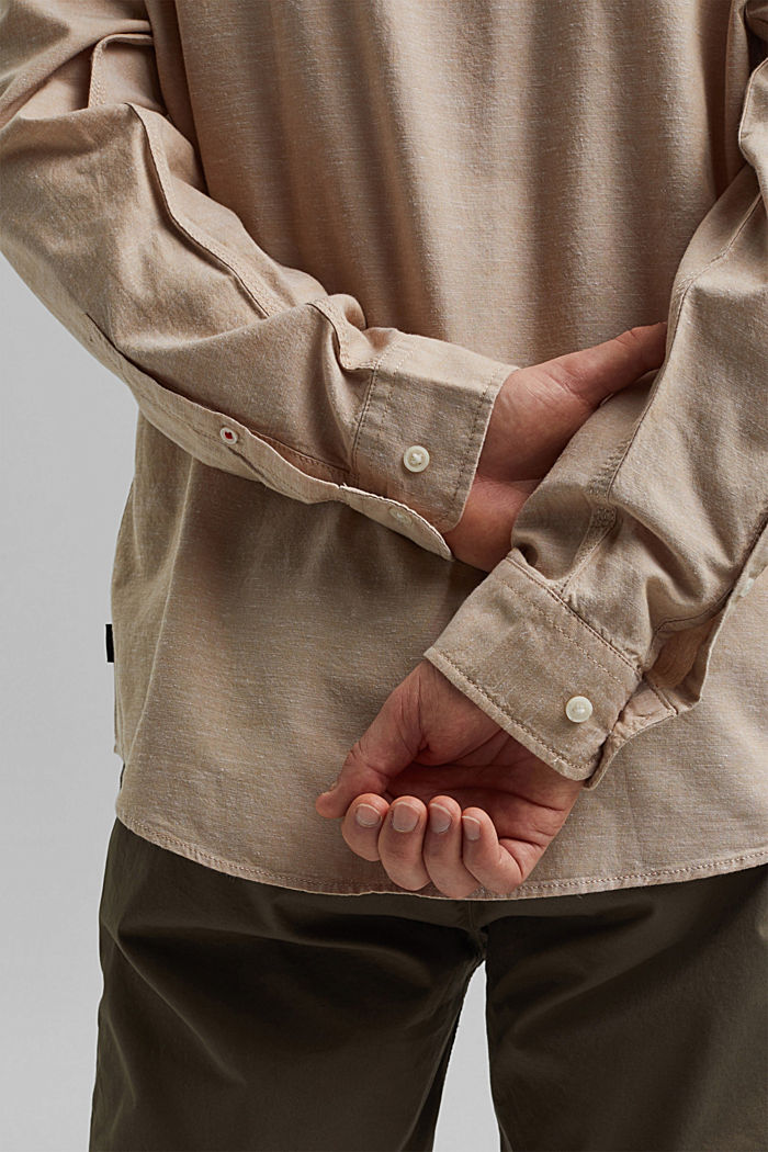Z lnem/bawełną organiczną: koszula z przypinanym kołnierzykiem, BEIGE, detail image number 2