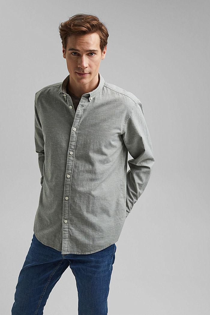 Linen/organic cotton: button-down shirt, LIGHT KHAKI, detail image number 0