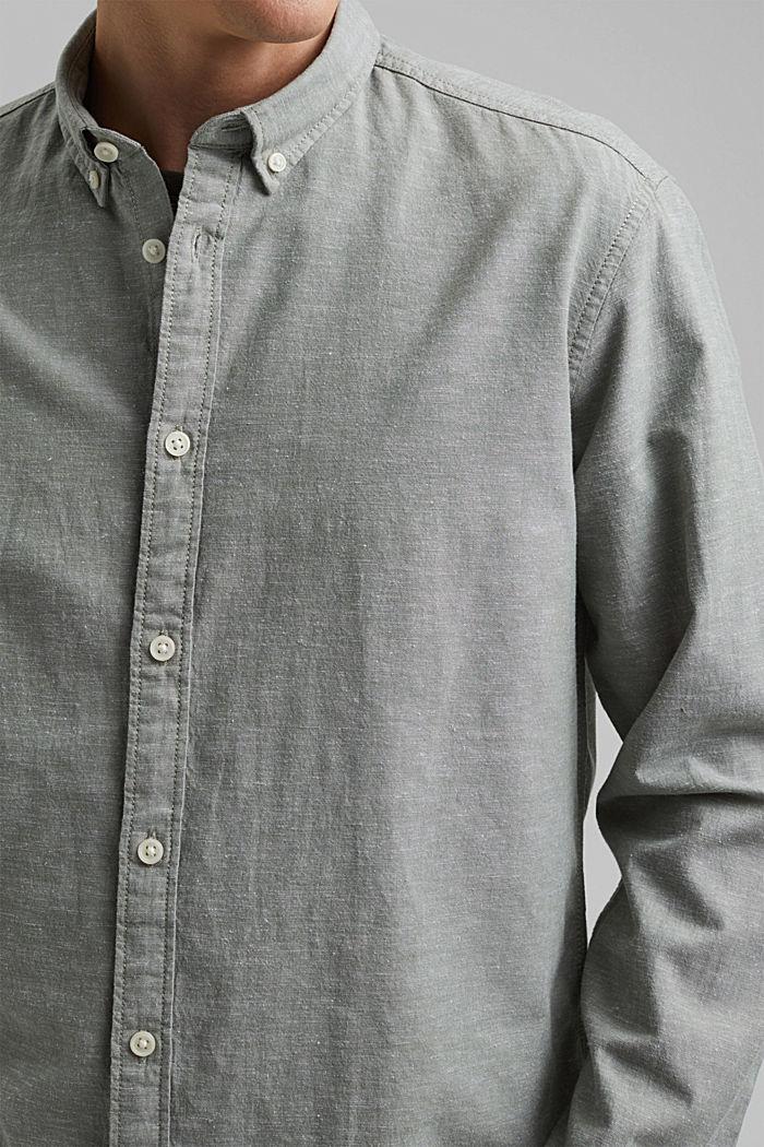 Linen/organic cotton: button-down shirt, LIGHT KHAKI, detail image number 2