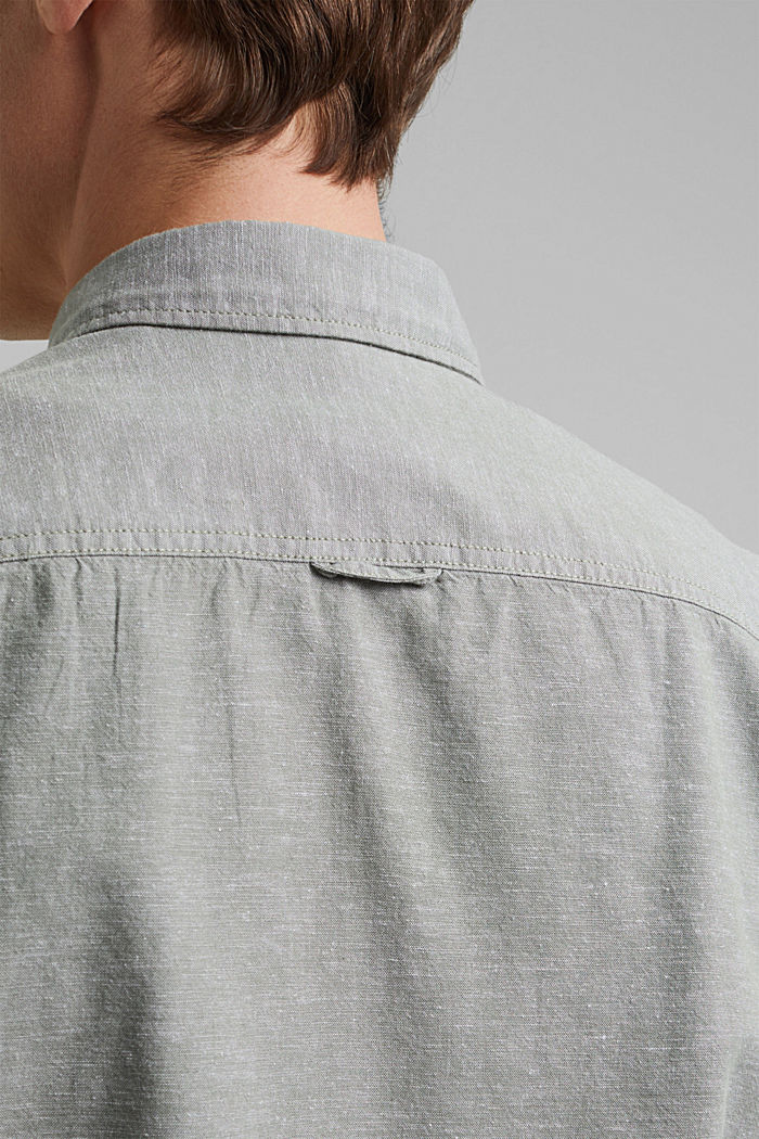 Linen/organic cotton: button-down shirt, LIGHT KHAKI, detail image number 5