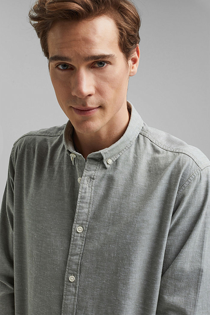 Leinen/Organic Cotton: Button-Down-Hemd